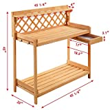 Garden Wood Work Potting Bench Station with Hook - By Choice Products