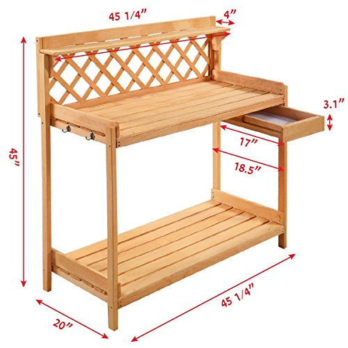 Garden Wood Work Potting Bench Station with Hook - By Choice Products by By Choice Products