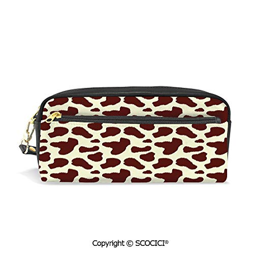 Students PU Pencil Case Pouch Women Purse Wallet Bag Cattle Skin with Brown Spots Agriculture Cow and Oxen Hide Camouflage Pattern Waterproof Large Capacity Hand Mini Cosmetic Makeup Bag ()