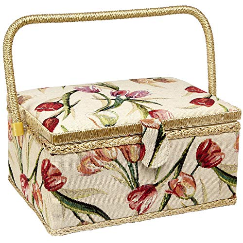 "Sewing Basket with Tulip Floral Print Design- Sewing Kit Storage Box with Removable Tray, Built-in Pin Cushion and Interior Pocket - Large - 12"" x 9"" x 6"" - by Adolfo Design"