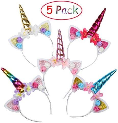 EKKONG Einhorn Haarreif für Kinder, 5 Stück Headband Stirnband Bunt mit Unicorn Horn, Haarschmuck für Ostern Geburtstag Birthday Party Karneval, Head Accessoires Party Dekoration für Mädchen
