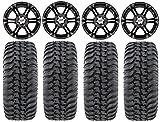 Bundle - 9 Items: ITP SS212 14'' Wheels Black 28'' Regulator Tires [4x137 Bolt Pattern 12mmx1.25 Lug Kit]