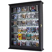 Shot glass display case cabinet holder rack shadow box - BLACK Finish (SCD06B-BL)