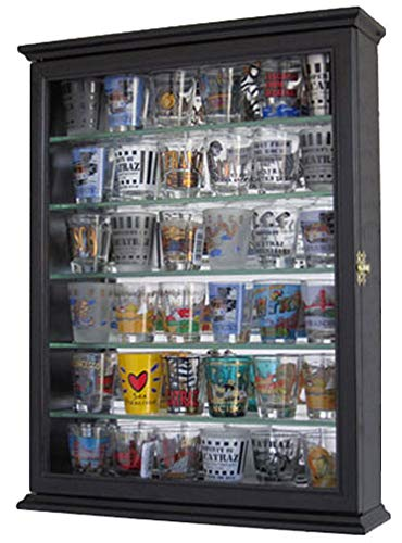 Souvenir Shot Glass Display Case Shadow Box Wall Mounted Cabinet, Mirror Background (Black Finish)