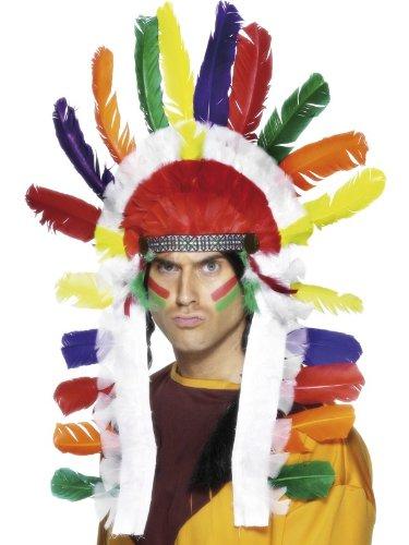 [Smiffy's Men's Indian Headdress Sitting Bull, Multi, One Size] (Halloween Indian Headdress)