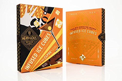 """Herb & Lou's Infused Ice Cubes - """"The Clyde"""" - Ready-Made Cocktail Mixer - Peach Cosmopolitan with Benedictine-Inspired Herbs & Artisanal Bitters (Non-Alcoholic)"""