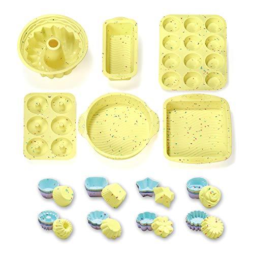 46PCS Silicone Bakeware Set Silicone Cake Molds Set For Baking, Including Baking Pan, Cake Mold, Cake Pan, Toast Mold…
