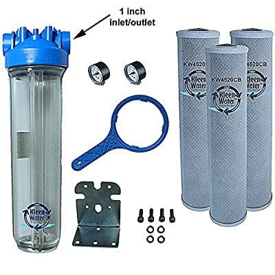 KleenWater Premier4520CL Chlorine Whole House Water Filter System - 1 Inch Inlet/Outlet - Transparent Housing - 7 GPM with Bracket, Wrench and Three 4.5 x 20 Chlorine Removal Cartridges