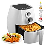 KUPPET A800 Air Fryer, 4.42Qt 1350W, Electric No Oil Cook Air Fryer Timer/Temperature 2 Way Control & 6 Cooking Presets, Auto switch-off, Dishwasher Safe (White)