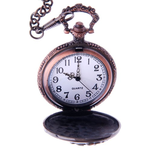 ShoppeWatch Pocket Watch with Chain Railroad Train Full Hunter Locomotive Steampunk Design PW-31 by ShoppeWatch (Image #1)