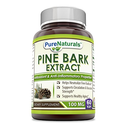 Pure Naturals Pine Bark Extract 100 Mg, 60 Veggie Capsules – Helps Neutralize Free Radicals* Supports Circulation & Vascular Strength* Supports Healthy Aging*