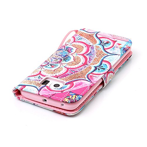 Sunroyal ® Funda Galaxy S6 Edge Carcasa Cuero Tapa Leather Wallet Ultra Slim Case Cover PU Piel Wallet Style Flip Cierre Magnético y Función de Soporte Billetera con Tapa para Tarjetas Caja del Teléfo A-04