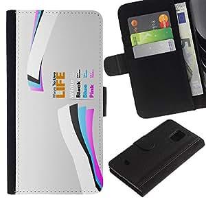 Planetar® Modelo colorido cuero carpeta tirón caso cubierta piel Holster Funda protección Para Samsung Galaxy S5 Mini / SM-G800 (Not For S5!!!) ( Life )