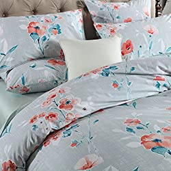 Brandream Home Collections Vintage Botanical Flower Print Bedding 800tc Cotton Sateen Romantic Floral Duvet Cover 3pc Set(King,Light Grey)