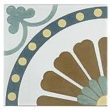 SomerTile FRC8REVR Reveil Ceramic Floor and Wall Tile, 7.75'' x 7.75'', White/Orange/Blue/Green/Yellow