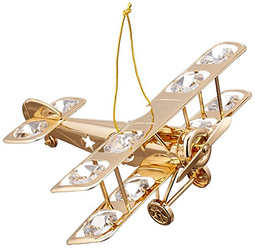 24K Gold Plated Crystal Studded Propeller Plane Hanging or Table Top Ornament by Matashi ()