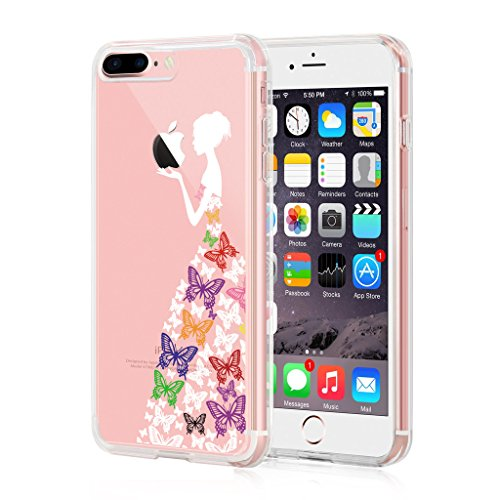 "Coque iPhone 7 Plus, IJIA Ultra-mince Transparent Romantique Papillon Coloré Princesse Robe Blanc TPU Doux Silicone Bumper Case Cover Shell Housse Etui pour Apple iPhone 7 Plus (5.5"") + 24K Or Autocol"