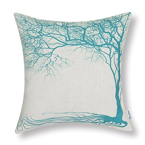 CaliTime Canvas Throw Pillow Cover Case for Couch Sofa Home, Vintage Big Old Tree 18 X 18 Inches, Teal (Cheap Sale $100 Under Couches For)