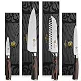 Kessaku 4 Knife Set - Samurai Series - Japanese Etched Damascus High Carbon Steel - 8'' Chef, 7'' Santoku, 5.5'' Utility, 3.5'' Paring
