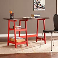 Langston Desk in Red and Espresso Finish