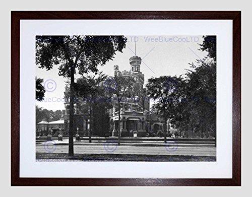 RESIDENCE OF MR. POTTER PALMER CHICAGO OLD BW BLACK FRAMED ART PRINT B12X712 - Palmer Residence