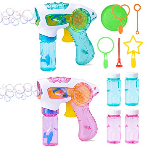 LEEHUR 2 Light Up Party Favors Bubble Guns 4 Solution 6pcs Bubble Wand for Kids LED Bubbles Blaster Shooter Blower Machine Supplies Summer Outdoor Indoor Activity Toys Girls Boys (Indoor Activity Toys)