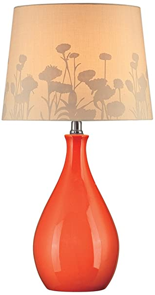 Lite Source Ls 21489orn Table Lamp Orange Ceramic With Silhouette