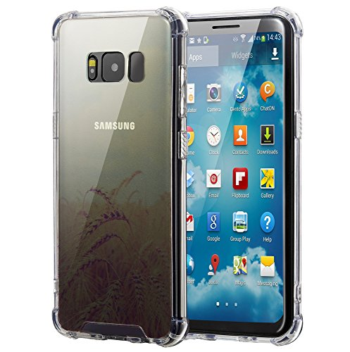 Samsung Galaxy S8 Case, Elzo [Wheat] Clear Shock Absorption Bumper Cover/Sleeve/Shell - Transparent Protective Hard Plastic Back Plate with Soft TPU (Ultra Hybrid/Scratch Resistant/Air (Protective Soft Plastic Case)