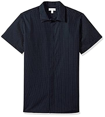 Calvin Klein Men's Short Sleeve French Placket Button Down Dotted Pinstripe