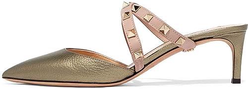 9cd07d821812d Ayercony Rivet Shoes, Rockstud Sandal Slides Cross Strap Mules Kitten Heel  Mule Slipper Pointed Toe Mule Shoes for Dress