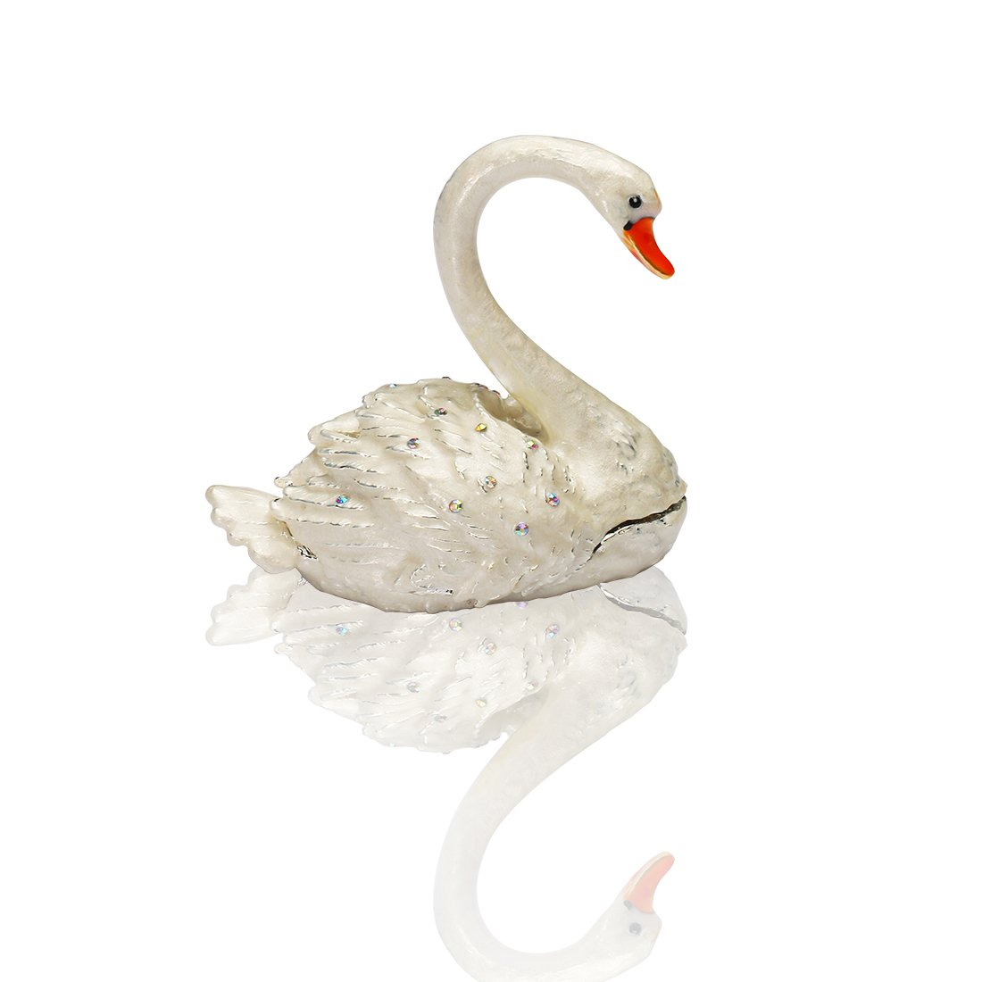 H&D Swan Figurines Trinket Box Jeweled Enameled Small Animal Figurine Collectible Ring Jewelry Holder (Wedding swan)