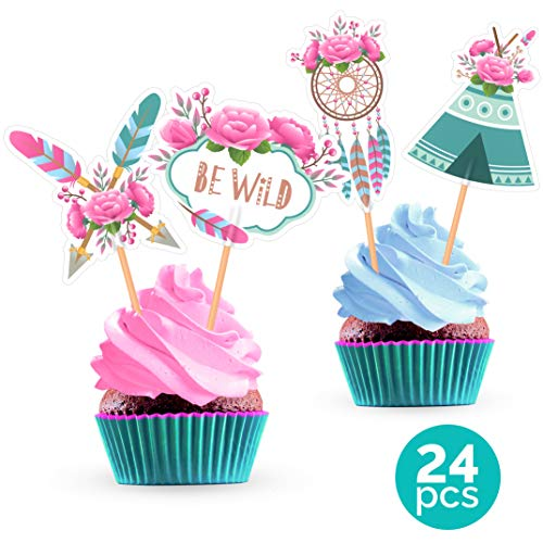 Tribal Boho Cupcake Cake Toppers - Feather Flower Arrow Teepee Dream Catcher Wild One for Bohemian Birthday Party Baby Shower - 24 -