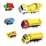 Véhicules de Construction Camion Chantier Tirer Vers L'arrière Voiture 6 Pièces (couleur varier)