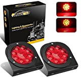 Partsam LED Truck/Trailer Tail Lights with Steel Brackets - Waterproof DC12 Red 12-LED Round Tail Light Bar for Stop/Turn/Brake Running Lamps Fits Any Camper/RV/Camper/UTV/Boat Trailers(2 PCS)