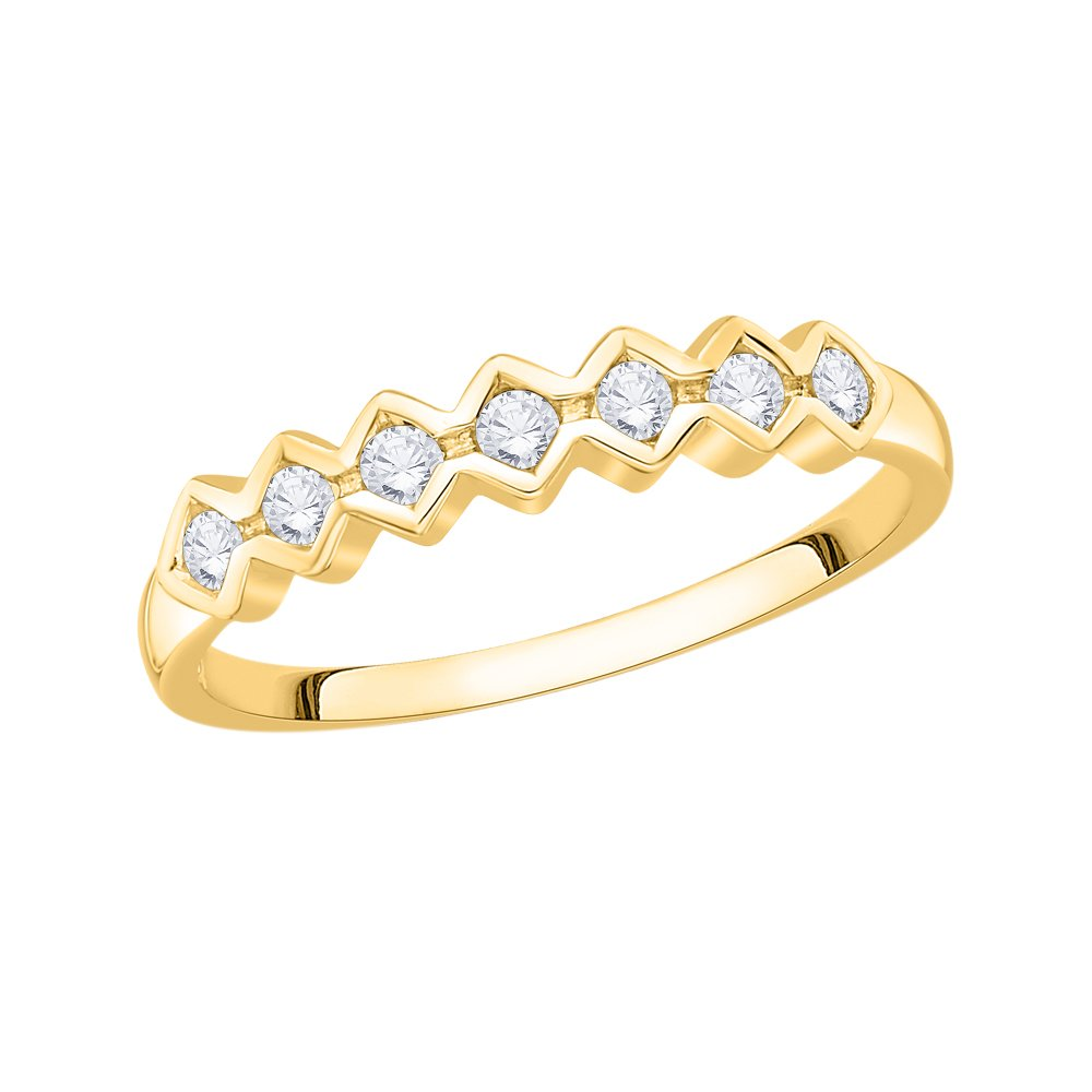 Size-5.5 Diamond Wedding Band in 10K Yellow Gold 1//6 cttw, G-H,I2-I3