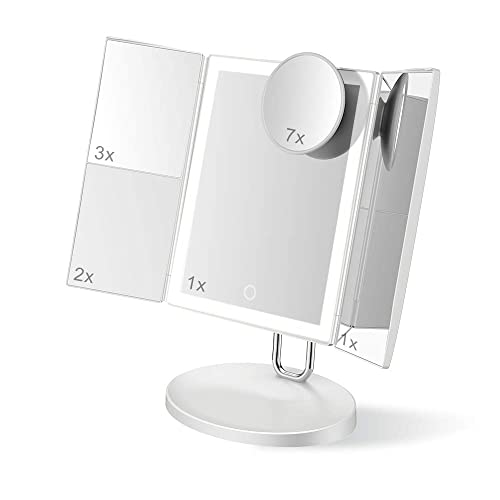 Trifold Makeup Mirrors with LED Light by TOUCHBeauty 7X 3X 2X 1X Magnifying Makeup Mirror Compact Ultrathin Rechargeable Vanity Mirrors