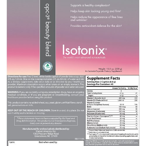 Isotonix OPC-3 Beauty Blend, Supports Healthy Complexion, Supports Healthy Skin Elasticity, Maintain Skin Moisture, Younger Looking Skin, Market America (45 Servings)