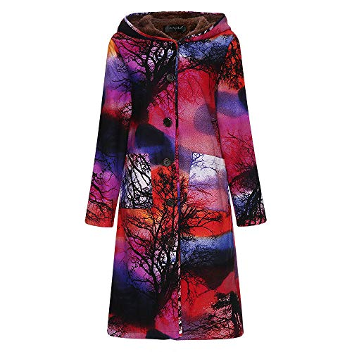 (Womens Long Coats Duseedik Winter Warm Down Jackets Outwear Floral Print Plaid Hooded Pockets Oversize Coats)