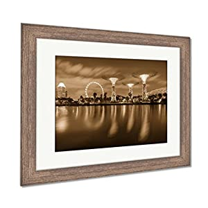 Ashley Framed Prints Night View Of The Super Tree Grove At Gardens By The Bay In Singapore Spanning, Wall Art Home Decoration, Sepia, 26x30 (frame size), Rustic Barn Wood Frame, AG6084871