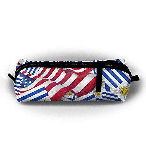 (Uruguay Flag With America Flag Pencil Bag Holder Pen Case Coin Purse Pouch Stationery Pouch Bag With Zipper For Girls Kids)
