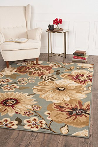 Universal Rugs Transitional Floral 5 ft. x 7 ft. Area Rug , Blue
