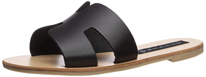 STEVEN by Steve Madden Women's Greece Sandal Black Leather 5 M US