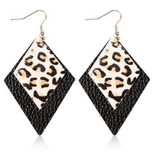 Simple Genuine Leather Geometric Drop Earrings - Bohemian Lightweight Hook Dangles Real Cowhide Feather/Calf Hair Diamond/Leopard Petal Leaf/Minimal Bar/Teardrop (Double Diamond - Leopard/Black)