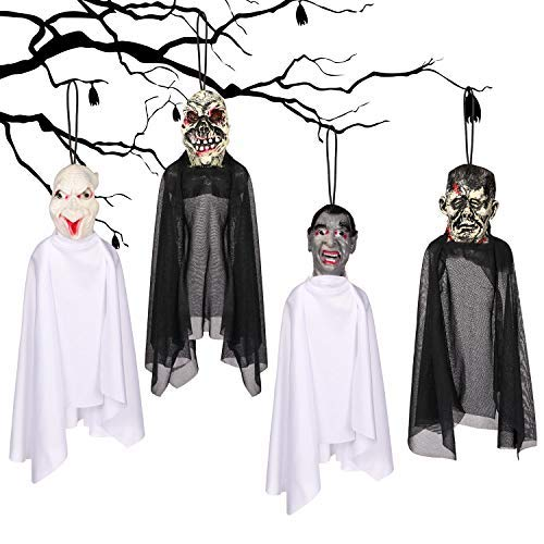 Y- STO 4 Set 16 Inch Hanging Ghost Halloween Decorations - Realistic Hanging Ghost Halloween Decor for Graveyard