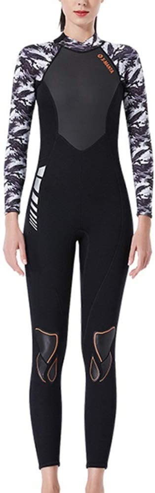 女性ウェットスーツスーツ ネオプレンウェットスーツ女性3ミリメートル水泳フルウェットスーツUV保護水泳ウェットスーツサーフィンカヤックウォータースポーツ フルダイビングスーツ (色 : B, Size : M) B Medium