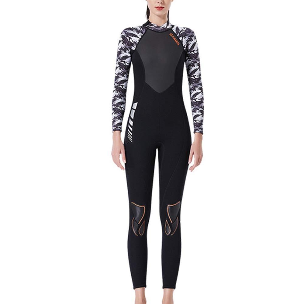 ウェットスーツ ネオプレンウェットスーツ女性3ミリメートル水泳フルウェットスーツUV保護水泳ウェットスーツサーフィンカヤックウォータースポーツ 快適さと利便性のために (色 : B, Size : S) B Small