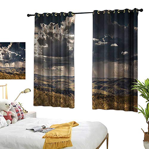 G Idle Sky Fashion Curtain Rustic Children's Bedroom Curtain Fluffy Clouds Mountains 72