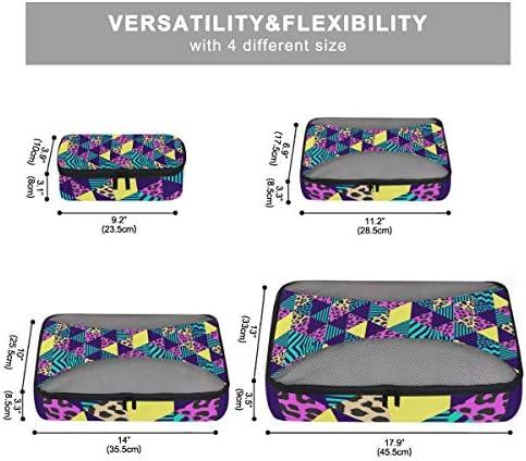 抽象的なヒョウの幾何学的な荷物パッキングキューブオーガナイザートイレタリーランドリーストレージバッグポーチパックキューブ4さまざまなサイズセットトラベルキッズレディース