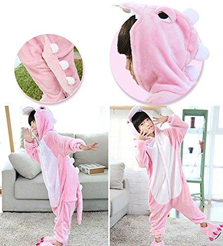 Tonwhar- Disfraz de animal/kigurumi para Niños, Halloween dinosaurio rosa