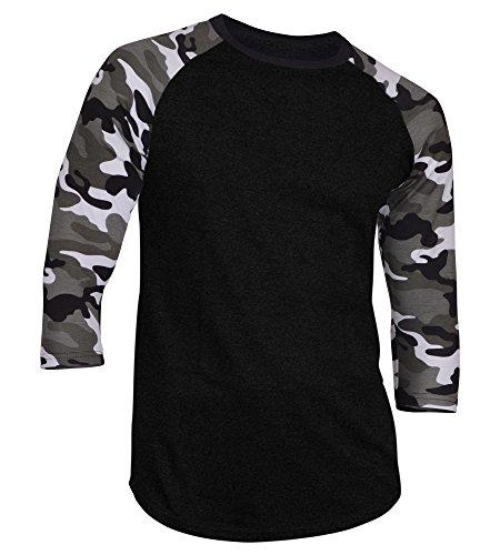Dream USA Men's Casual 3/4 Sleeve Baseball Tshirt Raglan Jersey Shirt Black/Lt Camo Medium by Dream USA